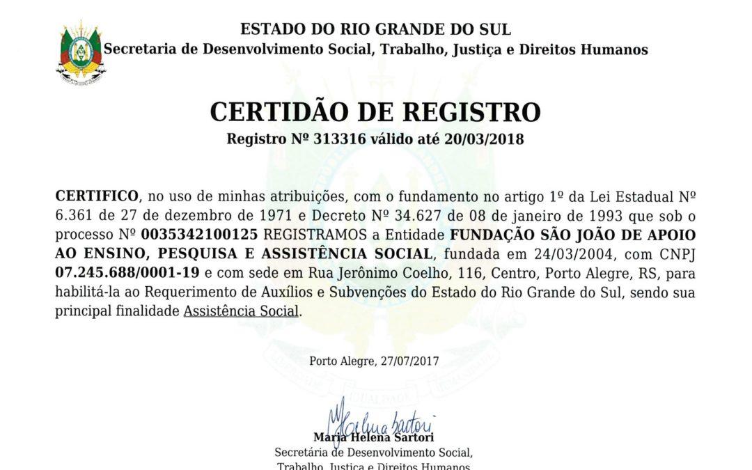 Fundação São João recebe Certidão de Registro do Governo do Estado